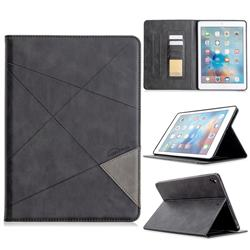 Binfen Color Prismatic Slim Magnetic Sucking Stitching Wallet Flip Cover for iPad Air iPad5 - Black