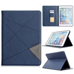 Binfen Color Prismatic Slim Magnetic Sucking Stitching Wallet Flip Cover for iPad Air iPad5 - Blue