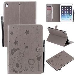 Embossing Bee and Cat Leather Flip Cover for iPad Air iPad5 - Gray