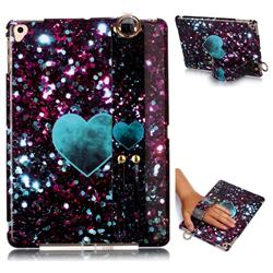 Glitter Green Heart Marble Clear Bumper Glossy Rubber Silicone Wrist Band Tablet Stand Holder Cover for iPad Air 2 iPad6