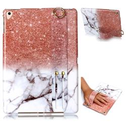 Glittering Rose Gold Marble Clear Bumper Glossy Rubber Silicone Wrist Band Tablet Stand Holder Cover for iPad Air 2 iPad6