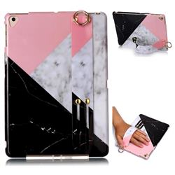 Tricolor Marble Clear Bumper Glossy Rubber Silicone Wrist Band Tablet Stand Holder Cover for iPad Air 2 iPad6