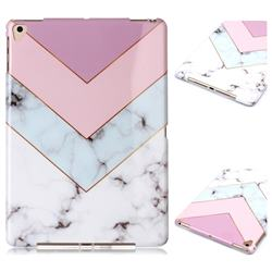Stitching Pink Marble Clear Bumper Glossy Rubber Silicone Phone Case for iPad Air 2 iPad6
