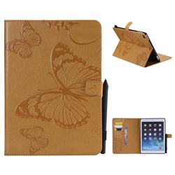 Embossing 3D Butterfly Leather Wallet Case for iPad Air 2 iPad6 - Yellow