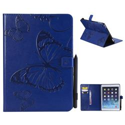 Embossing 3D Butterfly Leather Wallet Case for iPad Air 2 iPad6 - Blue