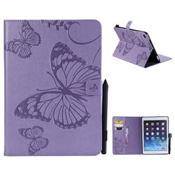 Embossing 3D Butterfly Leather Wallet Case for iPad Air 2 iPad6 - Purple