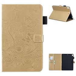 Intricate Embossing Butterfly Circle Leather Wallet Case for iPad Air 2 iPad6 - Champagne