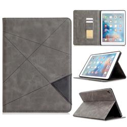 Binfen Color Prismatic Slim Magnetic Sucking Stitching Wallet Flip Cover for iPad Air 2 iPad6 - Gray