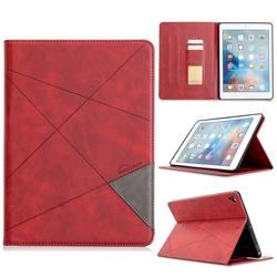 Binfen Color Prismatic Slim Magnetic Sucking Stitching Wallet Flip Cover for iPad Air 2 iPad6 - Red