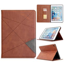 Binfen Color Prismatic Slim Magnetic Sucking Stitching Wallet Flip Cover for iPad Air 2 iPad6 - Brown