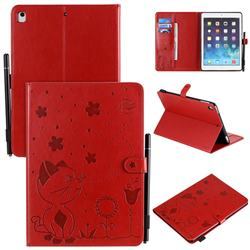 Embossing Bee and Cat Leather Flip Cover for iPad Air 2 iPad6 - Red