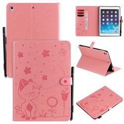 Embossing Bee and Cat Leather Flip Cover for iPad Air 2 iPad6 - Pink