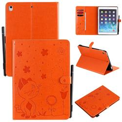 Embossing Bee and Cat Leather Flip Cover for iPad Air 2 iPad6 - Orange