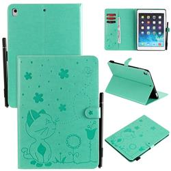Embossing Bee and Cat Leather Flip Cover for iPad Air 2 iPad6 - Green
