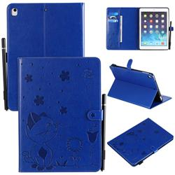 Embossing Bee and Cat Leather Flip Cover for iPad Air 2 iPad6 - Blue
