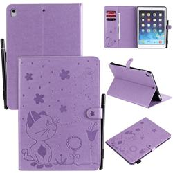 Embossing Bee and Cat Leather Flip Cover for iPad Air 2 iPad6 - Purple