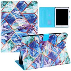 Green and Blue Stitching Color Marble Leather Flip Cover for Apple iPad Air 2 iPad6