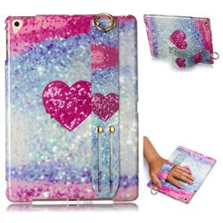 Glitter Rose Heart Marble Clear Bumper Glossy Rubber Silicone Wrist Band Tablet Stand Holder Cover for iPad 9.7 2017 9.7 inch