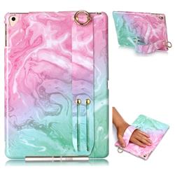 Pink Green Marble Clear Bumper Glossy Rubber Silicone Wrist Band Tablet Stand Holder Cover for iPad 9.7 2017 9.7 inch