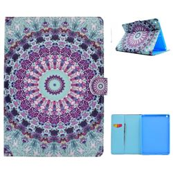 Mint Green Mandala Flower Folio Flip Stand Leather Wallet Case for iPad 9.7 2017 9.7 inch