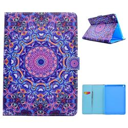 Purple Mandala Flower Folio Flip Stand Leather Wallet Case for iPad 9.7 2017 9.7 inch