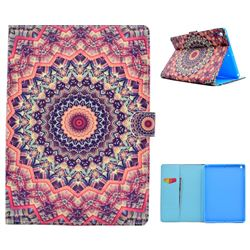 Orange Mandala Flower Folio Flip Stand Leather Wallet Case for iPad 9.7 2017 9.7 inch