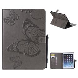 Embossing 3D Butterfly Leather Wallet Case for iPad 9.7 2017 9.7 inch - Gray