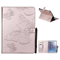 Embossing 3D Butterfly Leather Wallet Case for iPad 9.7 2017 9.7 inch - Rose Gold