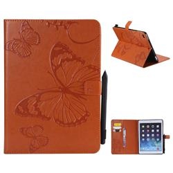 Embossing 3D Butterfly Leather Wallet Case for iPad 9.7 2017 9.7 inch - Orange