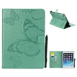 Embossing 3D Butterfly Leather Wallet Case for iPad 9.7 2017 9.7 inch - Green