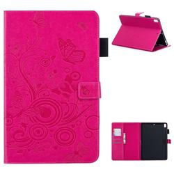 Intricate Embossing Butterfly Circle Leather Wallet Case for iPad 9.7 2017 9.7 inch - Red