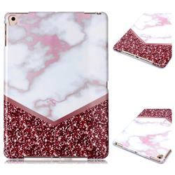 Stitching Rose Marble Clear Bumper Glossy Rubber Silicone Phone Case for Apple iPad 9.7 (2018)