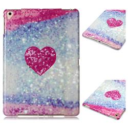 Glitter Rose Heart Marble Clear Bumper Glossy Rubber Silicone Phone Case for Apple iPad 9.7 (2018)