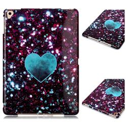 Glitter Green Heart Marble Clear Bumper Glossy Rubber Silicone Phone Case for Apple iPad 9.7 (2018)