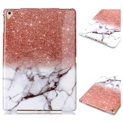 Glittering Rose Gold Marble Clear Bumper Glossy Rubber Silicone Phone Case for Apple iPad 9.7 (2018)