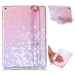 Glitter Pink Marble Clear Bumper Glossy Rubber Silicone Wrist Band Tablet Stand Holder Cover for Apple iPad 9.7 (2018)