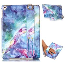 Blue Starry Sky Marble Clear Bumper Glossy Rubber Silicone Wrist Band Tablet Stand Holder Cover for Apple iPad 9.7 (2018)