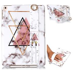 Inverted Triangle Powder Marble Clear Bumper Glossy Rubber Silicone Wrist Band Tablet Stand Holder Cover for Apple iPad 9.7 (2018)