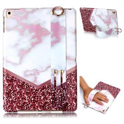 Stitching Rose Marble Clear Bumper Glossy Rubber Silicone Wrist Band Tablet Stand Holder Cover for Apple iPad 9.7 (2018)