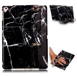 Black Stone Marble Clear Bumper Glossy Rubber Silicone Wrist Band Tablet Stand Holder Cover for Apple iPad 9.7 (2018)
