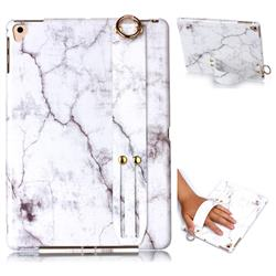 White Smooth Marble Clear Bumper Glossy Rubber Silicone Wrist Band Tablet Stand Holder Cover for Apple iPad 9.7 (2018)
