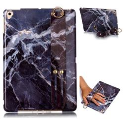 Gray Stone Marble Clear Bumper Glossy Rubber Silicone Wrist Band Tablet Stand Holder Cover for Apple iPad 9.7 (2018)