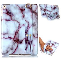 Bloody Lines Marble Clear Bumper Glossy Rubber Silicone Wrist Band Tablet Stand Holder Cover for Apple iPad 9.7 (2018)