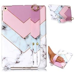 Stitching Pink Marble Clear Bumper Glossy Rubber Silicone Wrist Band Tablet Stand Holder Cover for Apple iPad 9.7 (2018)