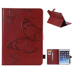 Embossing 3D Butterfly Leather Wallet Case for Apple iPad 9.7 (2018) - Red