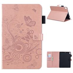 Intricate Embossing Butterfly Circle Leather Wallet Case for Apple iPad 9.7 (2018) - Rose Gold