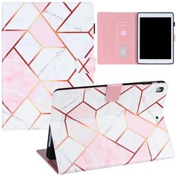 Pink White Stitching Color Marble Leather Flip Cover for Apple iPad 9.7 (2018)