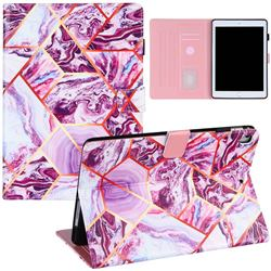 Dream Purple Stitching Color Marble Leather Flip Cover for Apple iPad 9.7 (2018)