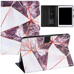 Black and White Stitching Color Marble Leather Flip Cover for Apple iPad 9.7 (2018)