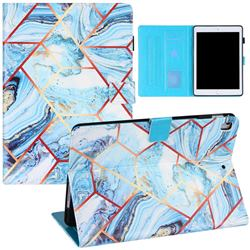 Lake Blue Stitching Color Marble Leather Flip Cover for Apple iPad 9.7 (2018)